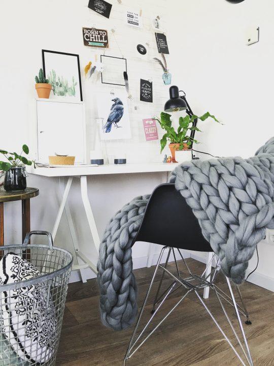 Merinowollen plaid van lontwol in grijs