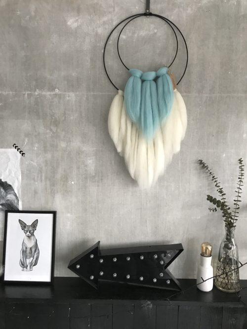 Een wandhanger met lontwol