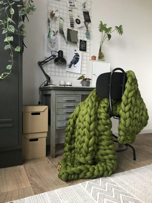 Olijfgroen plaid van wol