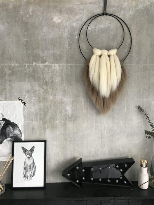 Wanddecoratie met wol