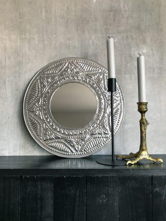 Bewerkte aluminium spiegel rond