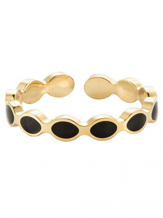 goudkleurige ring met zwarte opdruk