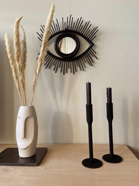 oog spiegel rotan zwart