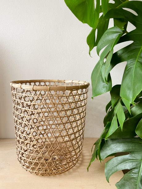 gevlochten bamboe wasmand