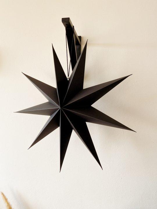 papieren kerstster zwart 60 cm