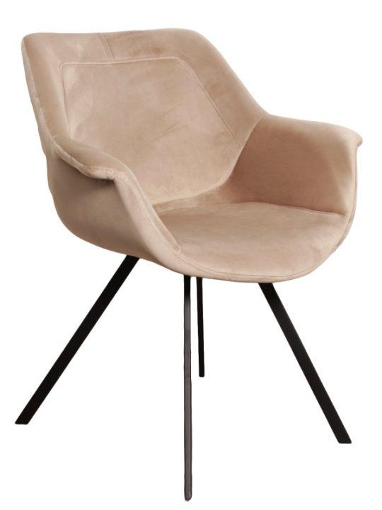 scandinavisch beige velvet stoel